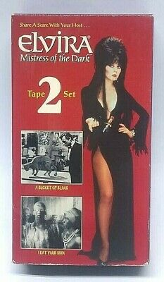Elvira Mistress of the Dark 2 VHS Set Bucket of Blood I Eat Your Skin Horror GUC