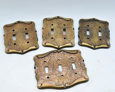 Vintage Leaf Motif Metal Switch Plate Double Triple Switches Victorian Style