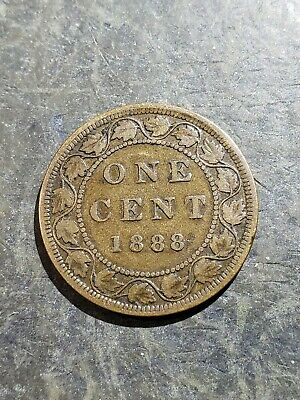 1888 Canada Large Cent Large 1 Cent Penny Coin #444