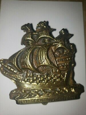 Small Antique Solid Brass Nautical Door Knocker In Form Of Ship ""