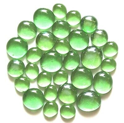 30 x Shades of Fern Green Glass Mosaic Pebble Nugget Gem Stones - Assorted Sizes