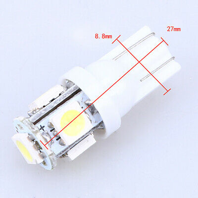 2X 5050 Cold White T10 Wedge LED Light 5SMD 5050 Bulbs W5W 2825 158 192 168 194