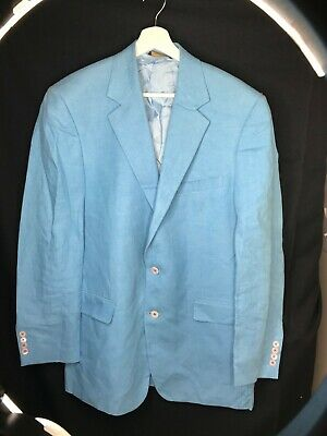Brooks Brothers 100% Linen Blue Linen Single vented back Italy Jacket Blazer 41L