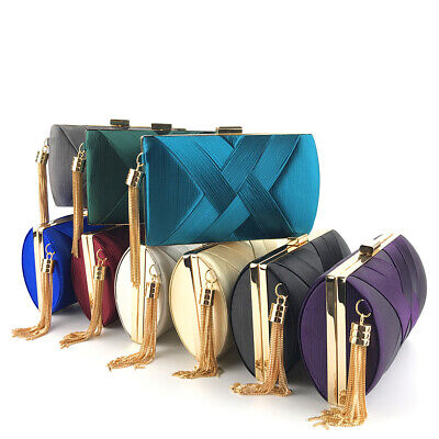 Silk Satin Evening Handbags Clutch Purse for Women Tassel Pendant Purses Wedding