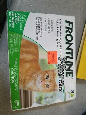 Frontline Plus For Cats (3 Doses)  Kills Fleas, Eggs,