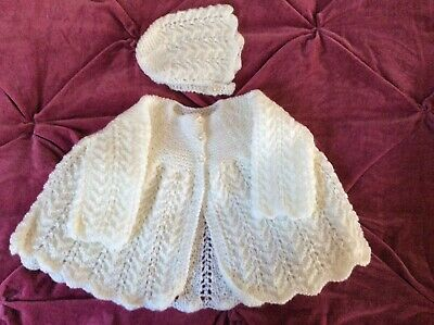 Lovely Hand-knit Cardigan/ Matinee Jacket For New Baby.
