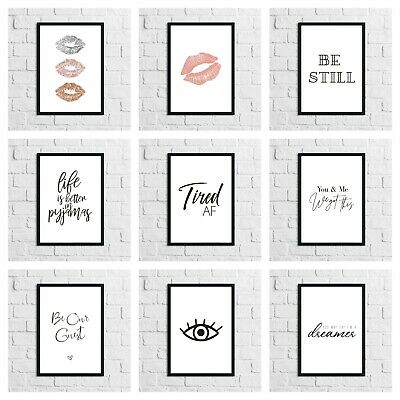 Bedroom Frameless Prints Room Wall Modern Funny Quotes Home Gift Art 51 Styles