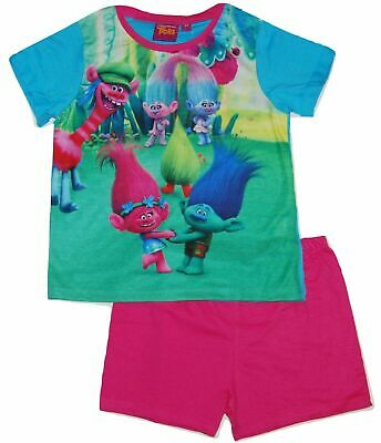 GIRLS OFFICIAL TROLLS POPPY FREE TO SPARKLE SHORT PYJAMAS AGES 3-4 to 9-10 years