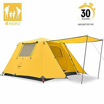 KAZOO Family Camping Tent Large Waterproof Pop Up Tents 4 Person Room Yellow