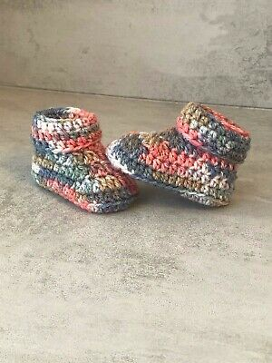 Crochet Knitted Baby Bootees Boots Booties Shoes Various Sizes - blue and pink