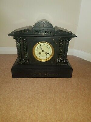 Antique slate and marble mantle clock lovely item ( heavy )
