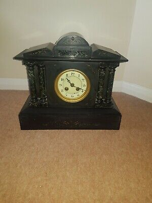 Slate mantle clock antique very heavy