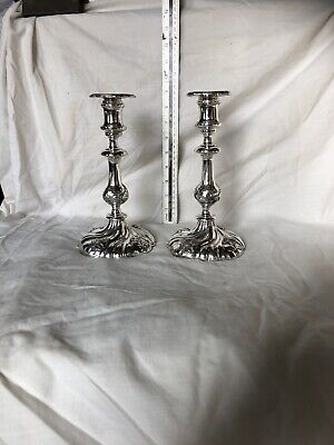 "Lovely antique pair of silver plated candlesticks. Approx 8.5"" High"