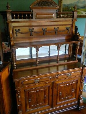 Antique French walnut sideboard buffet cabinet   c 1900
