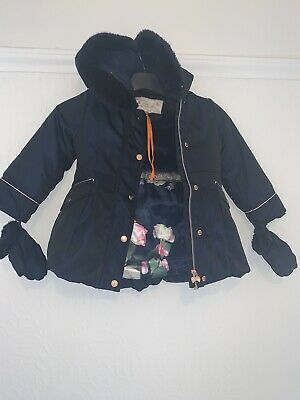 Girls Ted Baker Coat Jacket With Gloves Age 2-3 Years Navy Blue