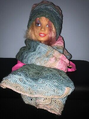 Handmade Knitted Multicolour Ladies Scarf And Hat Set