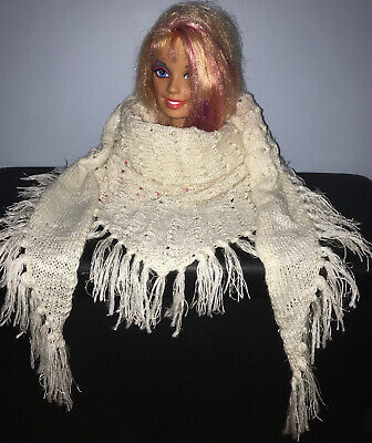 Handmade Knitted Ladies Triangle Scarf With Tassels, An Offwhite Colour