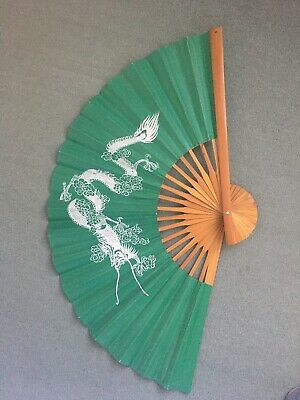 Large Vintage Hand Painted Chinese Fan Wall Art White Dragon