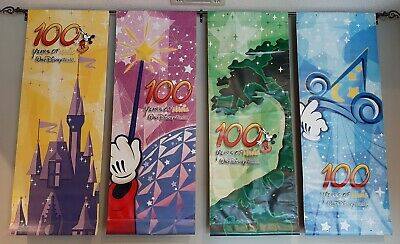 Walt Disney World All 4 Parks Used Prop Vinyl Banner Set 100 Years of Magic 2001