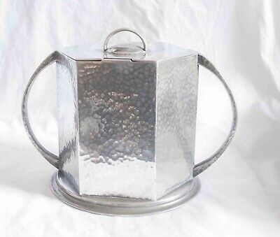 Arts and Crafts Pewter, Hexagonal, Twin Handeled Biscuit Box, Hammered Finish