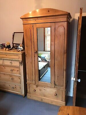 Tall Free Standing Solid Antique Pine Wardrobe