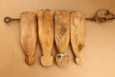 Old Antique Primitive Wooden Wood Treadles Pedals from Weaving Loom Farmhouse