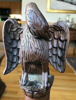 Antique Early Americana Hand Carved Walnut Wood Eagle Sculpture Folk Art c1860