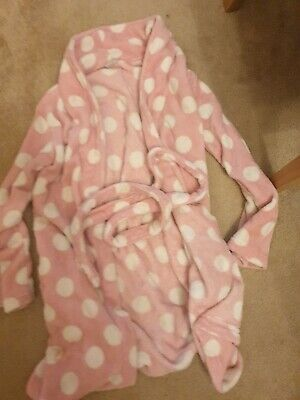 Matalan Girls Pink And White Spotted dressing Gown Age 8 -10 Years