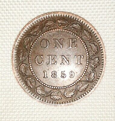 1859 Narrow 9 Canada One Cent Large Copper Penny Circulated Victoria Coin