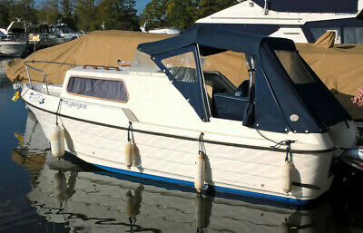 Kite 21ft grp river/canal cruiser moored on River Severn