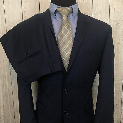 Jos. A. Bank 42R - W36 x L28 Navy Blue Windowpane Tailored Fit Wool 2-Piece Suit