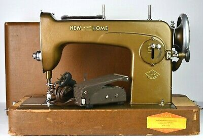 Vintage New Home Light Running Seeing Machine Antique TESTED 1940s WORKING