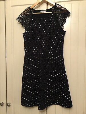 Red Herring Navy And White Polka Dot And Lace dress Size 12