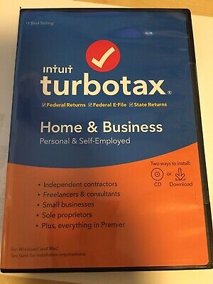 Intuit Turbotax Home & Business 2019 Federal E-File State CD/Download