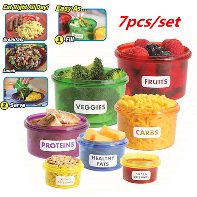 7Pcs Mini Meal Perfect Portions Control Food Storage Containers Box Case