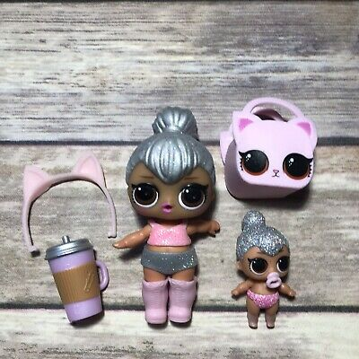 LOL Surprise Doll GLITTER KITTY QUEEN BIG & LIL SIS Set LIL KITTY QUEEN SPARKLE