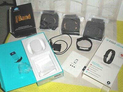 Fitbit Alta Hr Fitness Tracker Black S Original Box Charger Extras 3 Metal Bands
