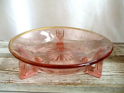 Pink Depression Glass Three Footed Bowl Etched Floral Design