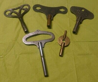 Job lot 5 x Vintage Antique mantel clock winding key approx 4mm 3.4mm 2mm square