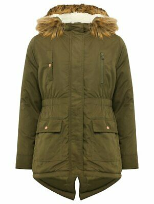 Girls Khaki Parka Coat with Fur Hood - Age 13+ - RRP £36 - New - FAST POST