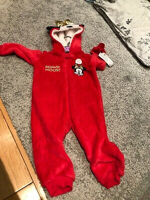 Minnie Mouse Red Fleecy All In One With Hood BNWT 12-18months