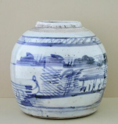 """Antique Chinese Blue and White Canton Porcelain Ginger Jar 18th C. """"ESTATE FIND"""""""