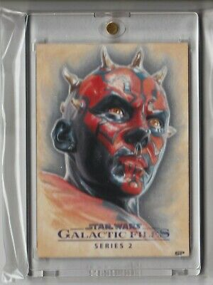 Darth Maul Sketch Card Topps Star Wars Galactic Files 2 Artist Proof Sean Pence