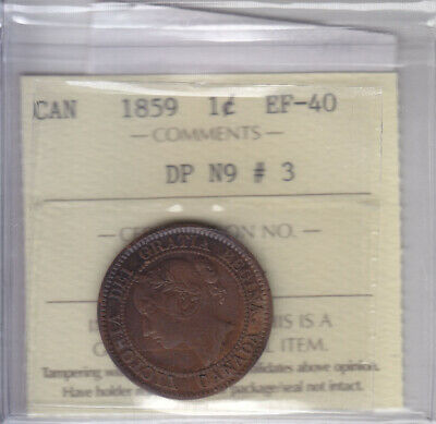 1859 Dp N9 #3 Canadian Large Cent Coin Iccs Ef-40