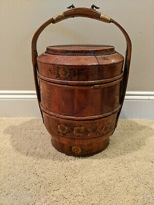 Antique Wood Chinese Asian Wedding Basket Food Rice Container Gold Decor