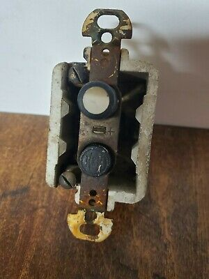 Antique H & H Porcelain Push Button Switch 2081 Mother of Pearl Untested