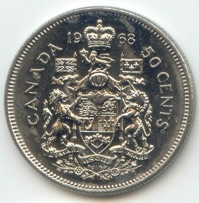 Canada 1968 Canadian 50c Nickel Fifty cent piece Half Dollar 50 Cents Coin ~