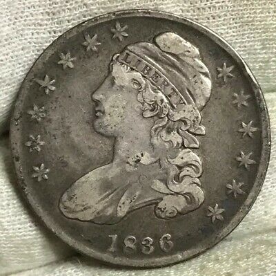 1836 Capped Bust Half Dollar FINE** Super Original ** Perfect Starter Book/Type