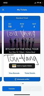 BTS - Map Of The Soul - Concert Ticket Dallas,TX - May 10th