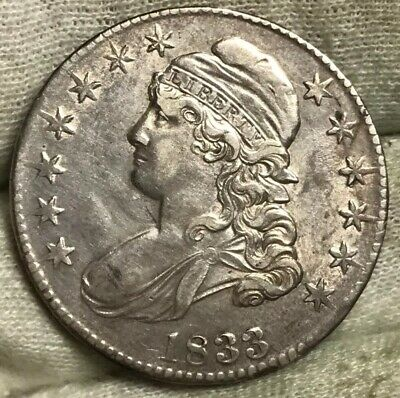 1833 Capped Bust Half Dollar AU Details Old Old CLND** Starting To Tone Over